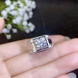 Image 3 - モアッサナイト男性のリング、 925 シルバー、美しい Firecolour 、ダイヤモンド代替