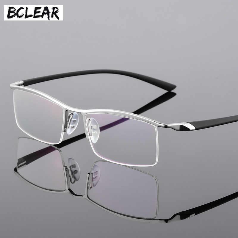 7a25ec142836 BCLEAR Half Rim Alloy Myopia Eyewear Eyeglasses Men Prescription Spectacles  RX Optical Frames Flexible TR-