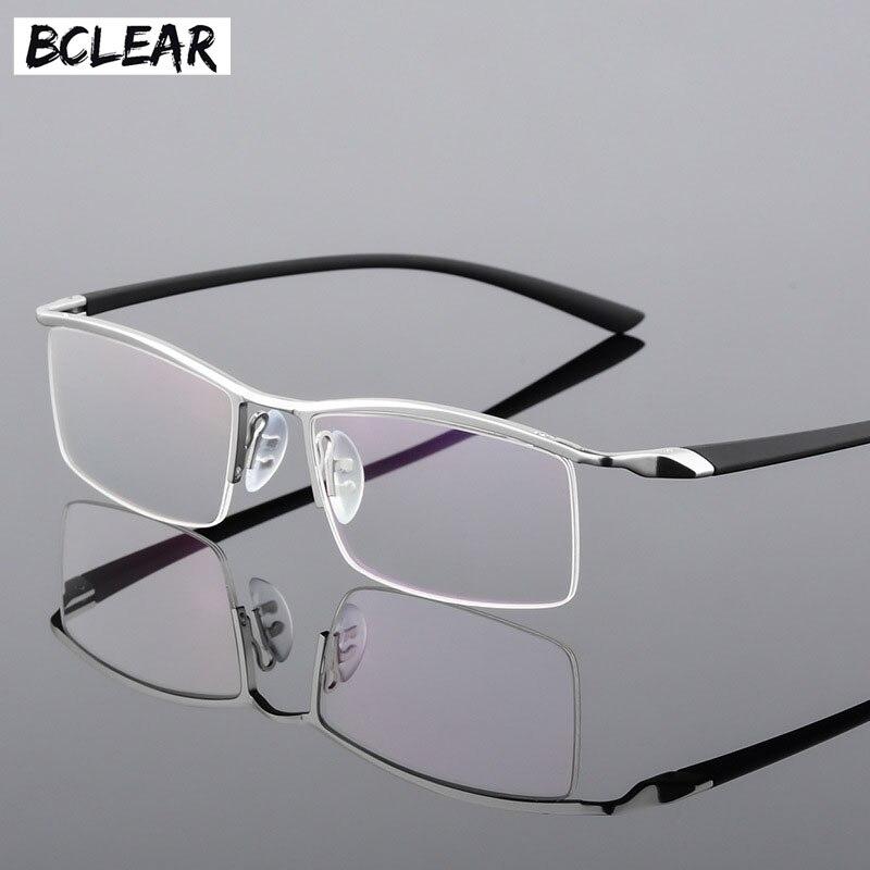 BCLEAR Metade Aro óculos de Miopia Liga de Óculos Armações de Óculos Homens  Prescrição Óculos RX ceccfd8979