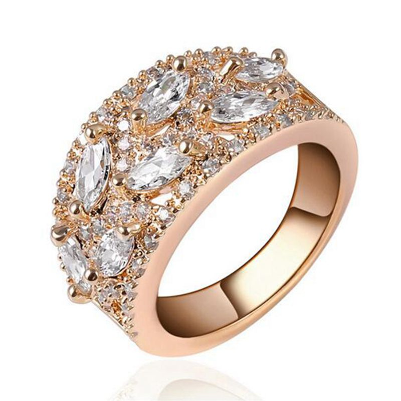 5pcsLot Fashion High Quality Round Zircon Copper Base Real White Gold Rings Beautiful Jewelry Gift Low Price RIG71