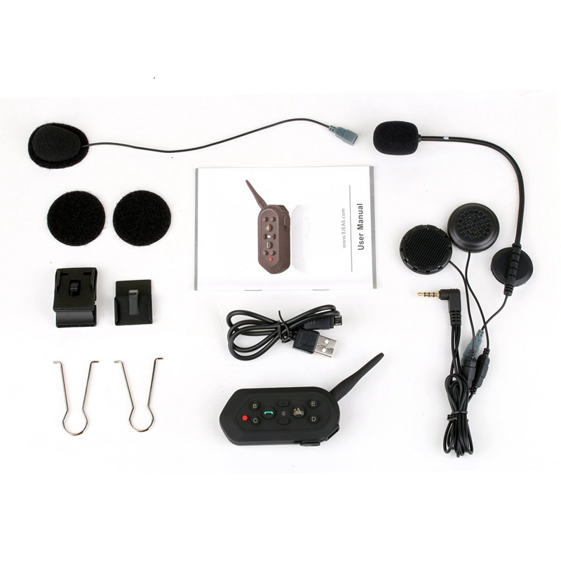1200m Motorcycle E6 Inter-phone Helmet Intercom With Bluetooth Function Motor FM Headset Referee With Mic Communicator