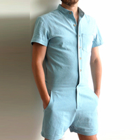 Fashion Short Sleeve Mens Rompers Casual Single Button Men Bodysuit Stand Jumpsuit Overall Short Cargo Pant Brand Clothing