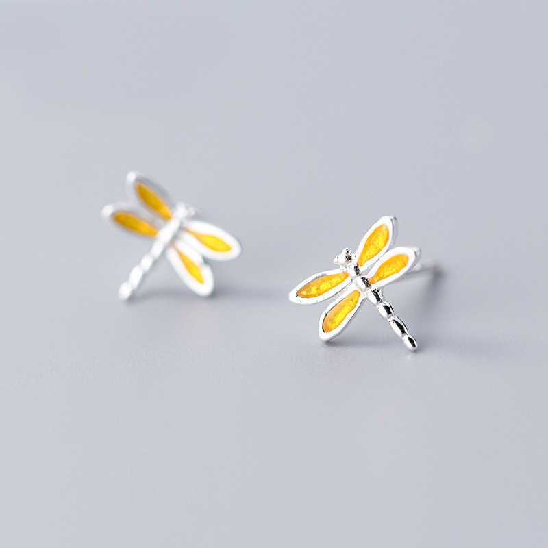 MloveAcc 100% 925 Solid Real Sterling Silver Cute Yellow Dragonfly Stud Earring for Teen Girl Women Fine Silver Jewelry
