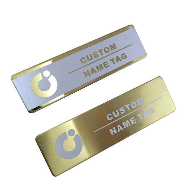 10pcs custom metal name tag laser staff magnetic id tag brush gold plate  name badge personalized