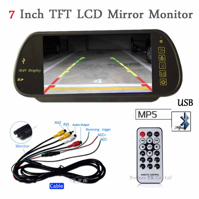 7 Inch LCD TFT Car Mirror Monitor 1024*800 Bluetooth MP5 Player with USB SD SLOT Remote control Audio out input FM function 7 car mirror monitor tft lcd vehicle car reaview mirror screen with remote controller bluetooth usb sd mp5 video player