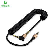 FLOVEME 3.5mm Aux Stretch Audio Cable 2m 90 Degree Angle For iPhone 6 6s 5s Jack Gold Plated Car Male to Male Headphone Cabos