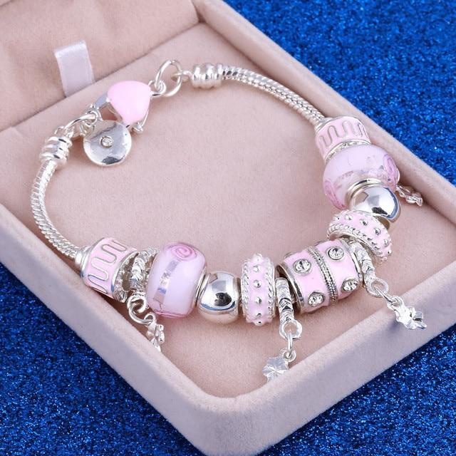 Pink Crystal Charm Silver Bracelets & Bangles for Women  Beads Silver Bracelet Femme Jewelry 1