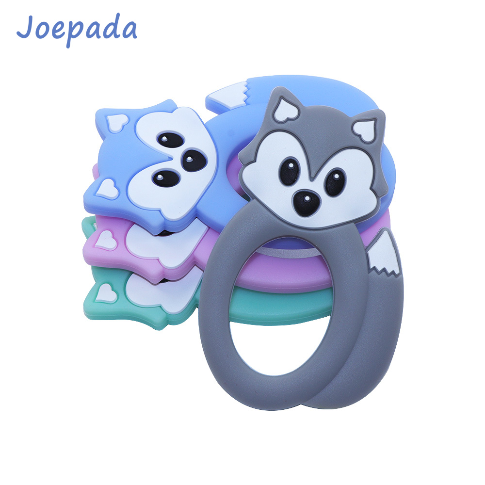 Joepada Fox Baby Teether Cute Animal Safe Silicone Chewing Teething Toys DIY Baby Teething Necklace BPA Free Silicone Beads