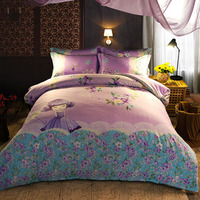 Vivid Chinese Traditional Printed Bedding Set Full Queen King Size Bedspread Duvet Covers Cotton Woven 600TC Lavender Color Girl