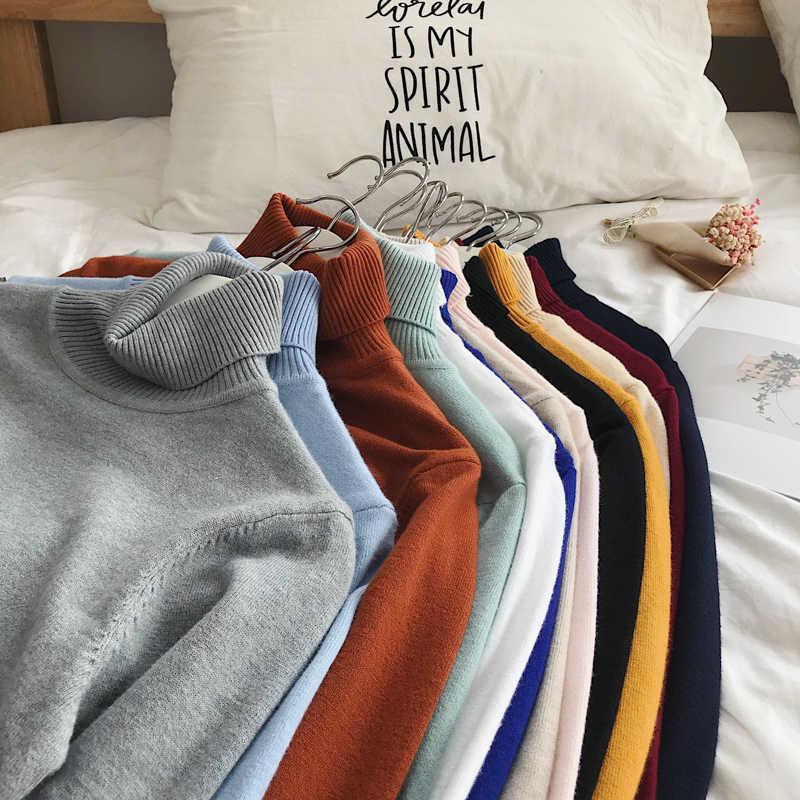 Dapat Dibaca Pria Sweater Musim Dingin Pria Turtleneck Hitam Pullover Sweater Pria Korea Solid Hitam Beberapa Pakaian Berwarna-warni