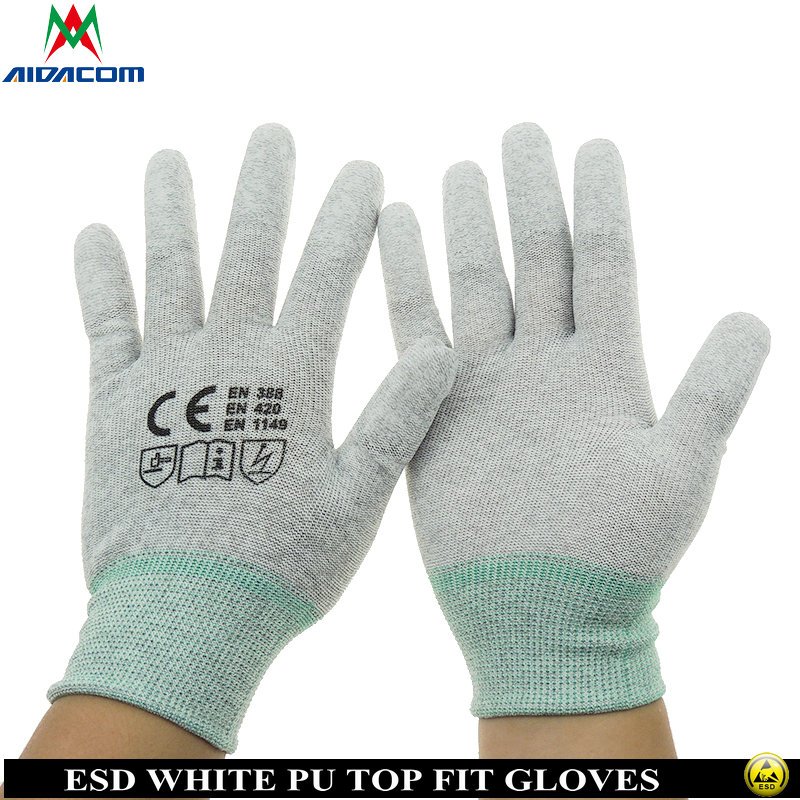 AIDACOM 1pair Antistatic ESD Gloves ESD PU Coating Gloves ESD PU Finger Tip Gloves Free Shipping CR0406E