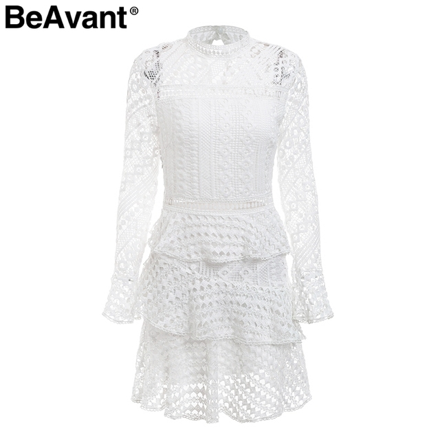 1a25ce7528 ... BeAvant Layered ruffle hollow out lace dress Women plus size flare  sleeve white dress Elegant 2018