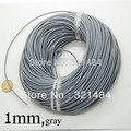 De color gris 100 m cuerdas de cuero guniune verdadera cuerda de cuero redonda de 1mm para granos de la joyería que hace fuentes