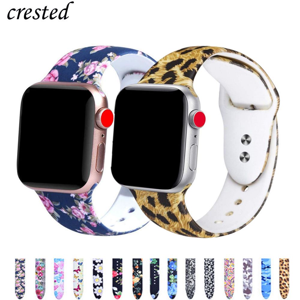 Printed Strap For Apple Watch Band 44 Mm 40mm IWatch Band 42mm 38mm Silicone Sport Bracelet Strap Apple Watch 5 4 3 21 Series 38
