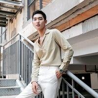 Tencel Luxurious Shirt Men Dress Smart Casual Shirt Long Sleeves Tops Slim Casual Solid Color Mens Dress Shirts Slim Business