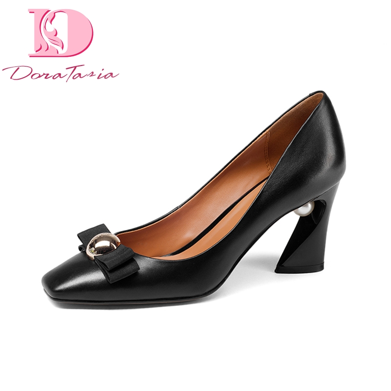 Doratasia New women's Genuine Leather Square High Heels Metal Decoration Shoes Woman Fashion Spring Pumps Big Size 33-43 keaiqianjin woman patent leather pumps plus size 33 43 high shoes spring autumn metal decoration black genuine leather pumps