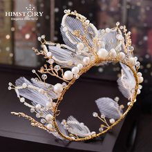 HIMSTORY Fashion Handmade Round Princess Crown Tiaras Beads Pearl Wedding Bridal Hair Accessories Jewelry