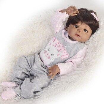 Black doll reborn 55cm full body silicone reborn baby dolls Bebes reborn African girl toddler doll kids toy doll gifts