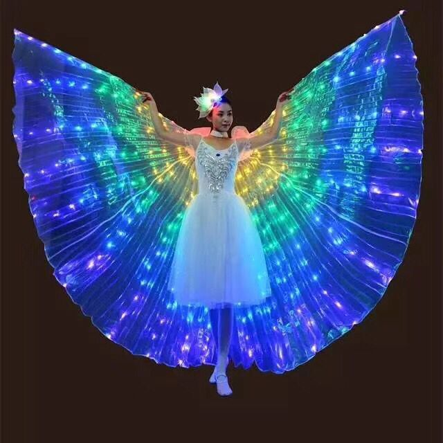 Colourful led isis wings kids child girls women Wings with Adjustable Sticks for LED light up Belly dance dresses