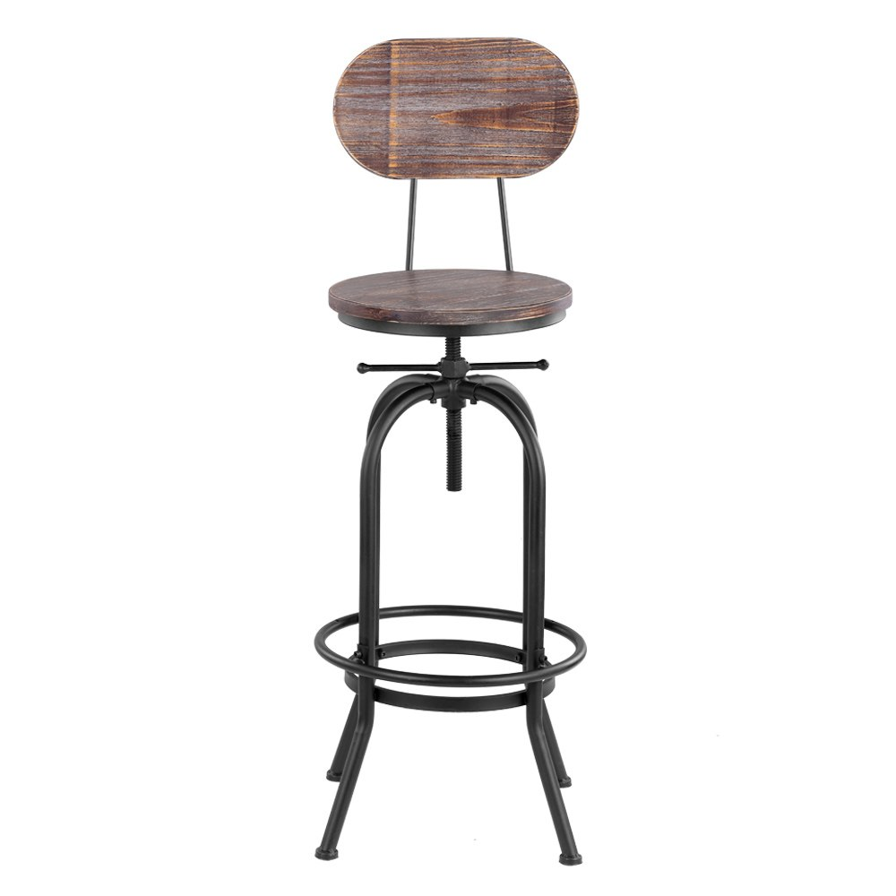 Fine Us 68 62 43 Off Ikayaa Industrial Style Bar Stool Height Adjustable Swivel Kitchen Dining Chair Pinewood Top Metal With Backrest Bar Stools In Bar Ocoug Best Dining Table And Chair Ideas Images Ocougorg