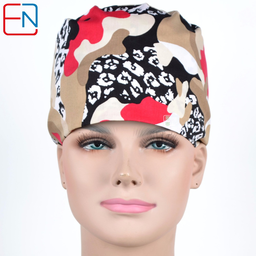 Hennar Medical Scrub Caps For Men Women Surgical Surgeon's Surgery Hat Camouflage Print Hospital Clinical Doctor Scrub Caps
