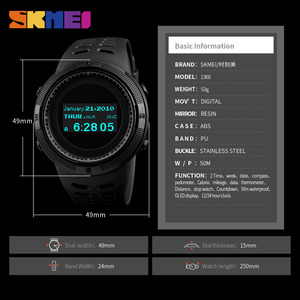 Image 5 - SKMEI Men Sport Watch Pedometer Calorie Digital Watches Top Male Clock Compass Thermometer Wrist Watch Man Relogio masculino1360