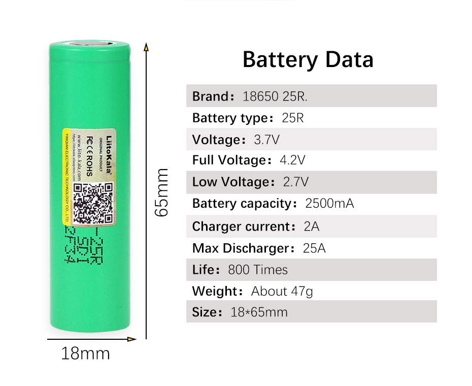 LiitoKala 18650 2500 mAh Rechargeable battery 3 6V INR1865025R 20A discharge batteries For E cigarette use in Replacement Batteries from Consumer Electronics