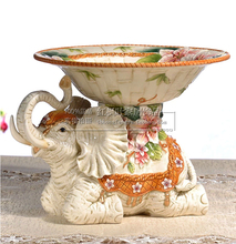 ceramic Creative Elephant fruit plate Candy Storage dish home decor crafts wedding decoration handicraft porcelain figurine