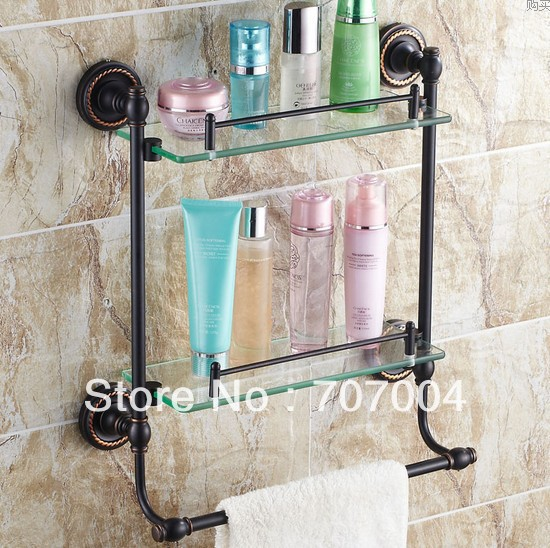 Bathroom Wall Mounted Oil Rubbed Bronze Commodity Shelf Holder Black Towel  Bar Support Cosmetic Support Stand