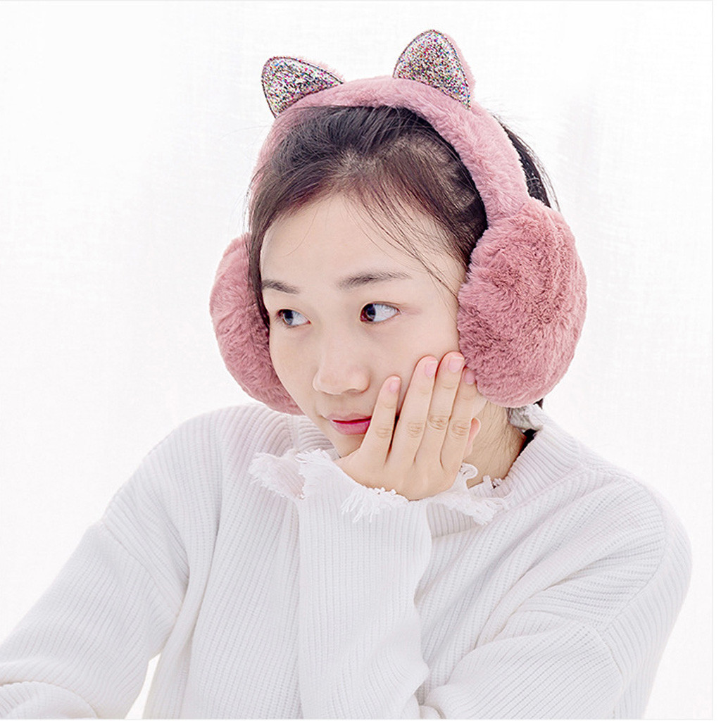 f25ce32437f10 2018 Fashion Women Girl Fur Winter Ear Warmer Earmuffs Cat Ear Muffs ...
