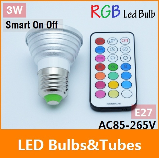 3w E27 LED RGB bulb AC110 ~ 240V multicolor LED Bulb Spot Lamp +21 key Remote controller smart timer on off led light new rf 315 e27 led lamp base bulb holder e27 screw timer switch remote control light lamp bulb holder for smart home