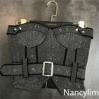 Nancylim Bra Shirts Lady Spring and Summer New Water Drill Ironing Belt Sexy Chest Wiping Underclothes Tshirt Crop Top Women
