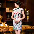 Summer style short sleeve Cheongsam Top quality Party Dress chi-pao Mini Evening Dress vestidos Tang suit Size:S-3XL