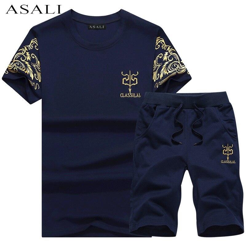 Neue Mode Sportsuit und T-shirt Set Herren T-shirt Shorts + kurze Hosen Männer Sommer Trainingsanzug Männer Casual Marke T-shirts 2018