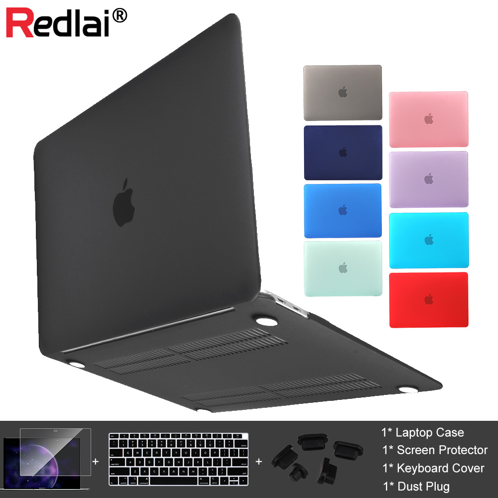 Redlai Plastic Hard Case For MacBook Air 13 A1932 A1466 Pro Retina 12 13 15 Pro 2018 Touch Bar Keyboard Cover+Screen Protector