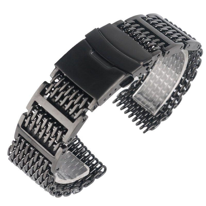 20/22/24mm Stainless Steel Band HQ Solid Link Shark Mesh Men Watch Strap Black Fold Over Clasp with Safety Bracelet