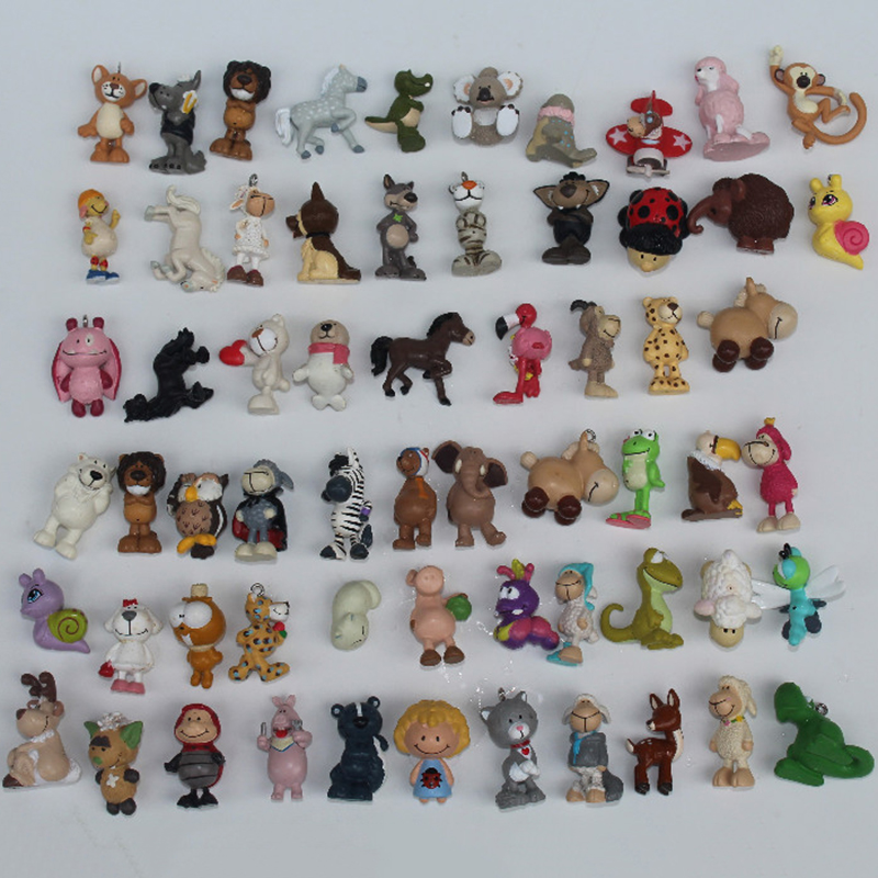 24PCS Cartoon Plastic Cute Mini Animal Model Unicorn Owl Monkey Dolls Lovely Design Bear Dog Kids Children Toy ASB33 1pc 16cm mini kawaii animal plush toy cute rabbit owl raccoon panda chicken dolls with foam partical kids gift wedding dolls