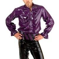0.4 мм Толщина латекса рубашка латекс Для мужчин блузка Фиолетовый Латекс резиновые костюм