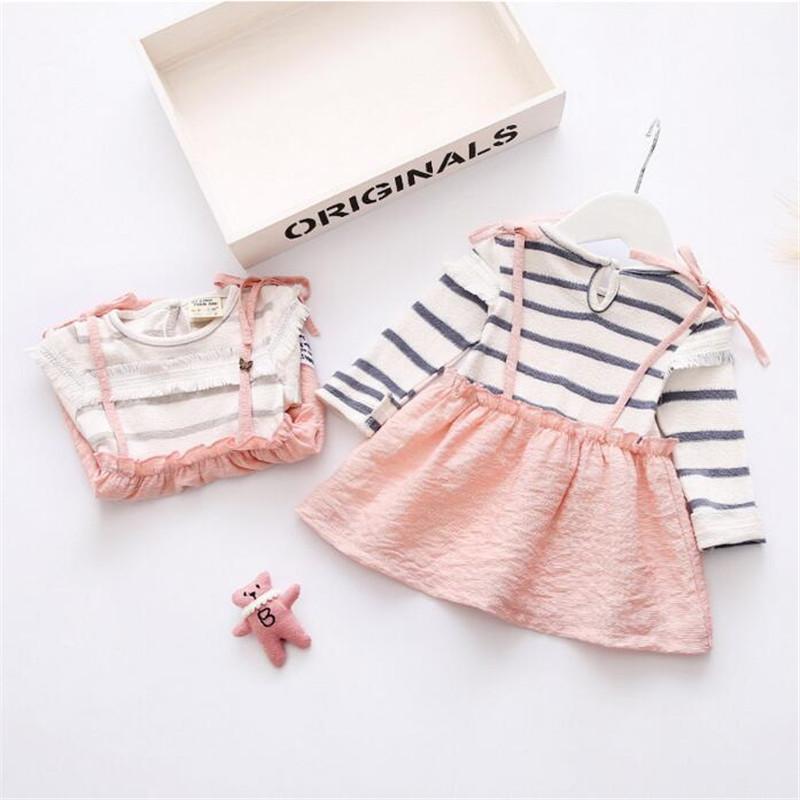 nuevo estilo de las muchachas desgaste de algodn blusa tie plaid vestido del beb ropa del