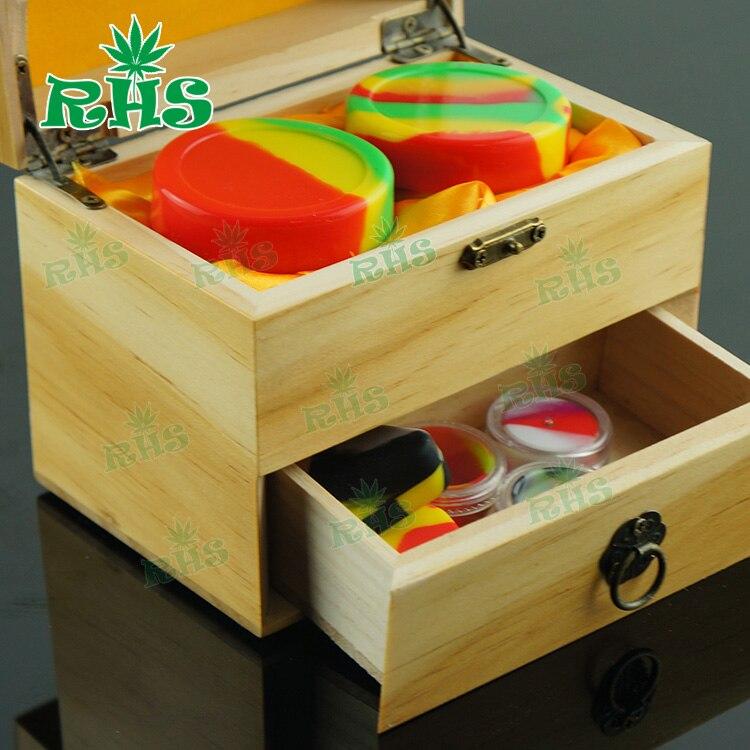 Avec un beau paquet en bois ou en bambou matériau pots en silicone dab cire conteneur cire huile conteneur boîte en bois pour huile essentielle - 2