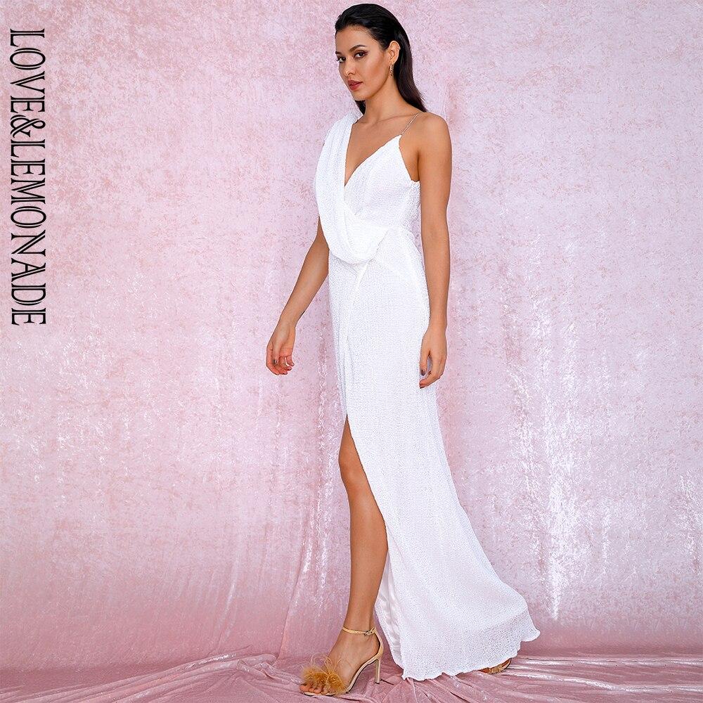 LOVE&LEMONADE Sexy White  Deep V-Neck Whit Split Sequins Party Maxi Dress LM81849 Autumn/Winter