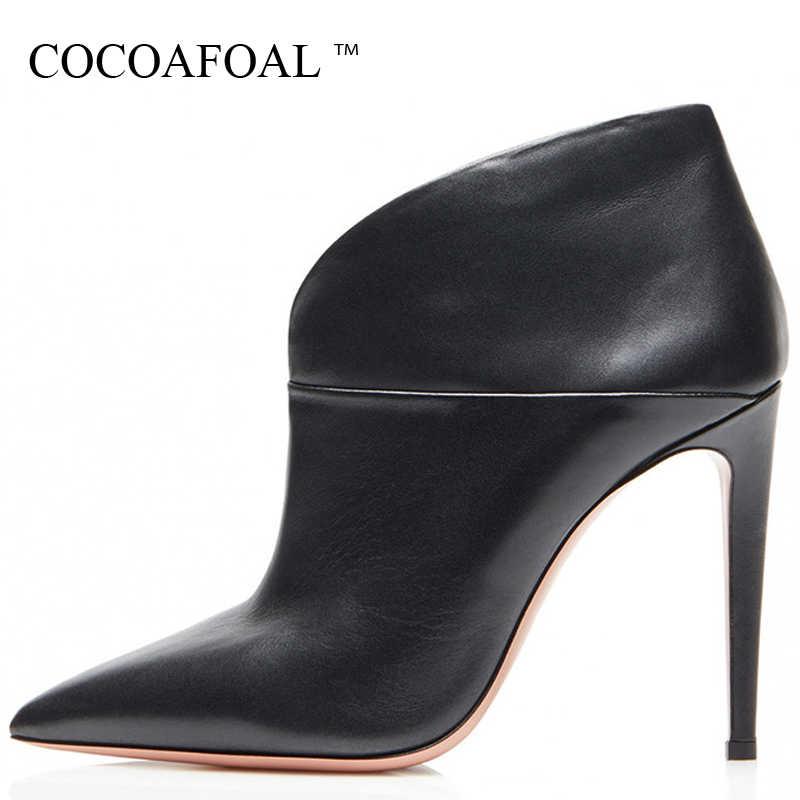 COCOAFOAL Sexy Spitz frauen Stiefeletten Frau High Heels Chelsea Stiefel Schwarz Plus Größe 43 Herbst Winter Stiefeletten stiefel 2019