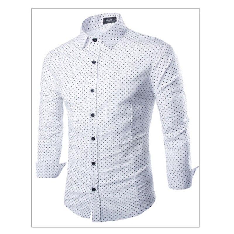 Cheap Polka Pot Long Sleeve New Brand font b Men b font font b Shirts b
