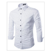 Cheap Polka Pot Long Sleeve New Brand Men Shirts Casual Male Dress Shirts White/Black Slim Fit Clothes Free Shipping Camisa C838