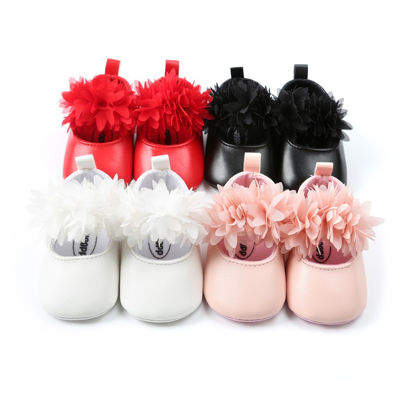 Flowers Baby Shoes PU Newborn Fashion Spring Baby Girl Shoes PU Flowers First Walker 4 Color Baby Girl Shoes 2018 New