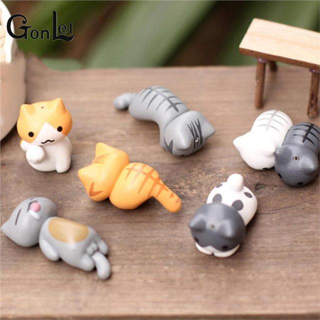 6 Pcs/Set Cute Cartoon Lazy Cats For Micro Landscape Kitten Action Figures Toy
