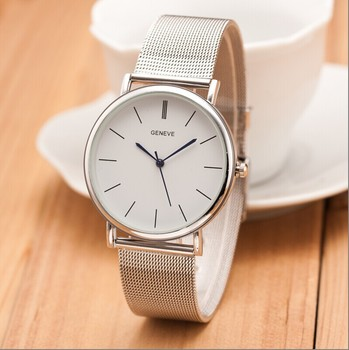 2017 New Famous Brand Silver Geneva Casual Quartz Watch Women Metal Mesh Stainless Steel Dress Watches Clock Relogio Feminino