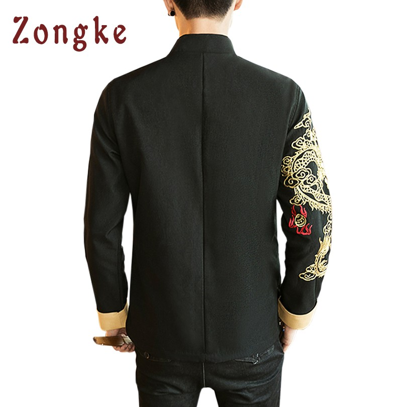 2018 New Chinese Golden Dragon Embroidery Bomber Jacket Coat Men Jaqueta Masculina Casual Jackets Mens Veste Homme