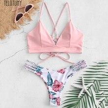 TELOTUNY, женский купальник, женское бикини, с цветком, два предмета, купальник, пушапы, купальник, пляжная одежда, с цветами, летний купальник