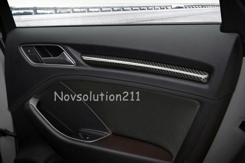 Left Hand side Drive Car Door Side Real Carbon Fiber Interior Stripe Decoration Cover Trims For Audi A3 8V 2013 2014 2015 2016 stainless steel car interior dashboard side air conditioning outlet vents decorative cover trim strip for audi a3 8v 2013 16